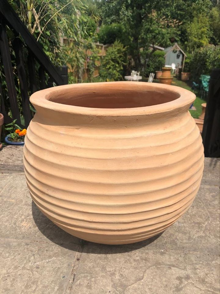 SFAIRA Cretan Terracotta Pot Planter from Northern Crete – Large 45cm X 46cm – Handmade – £95.00