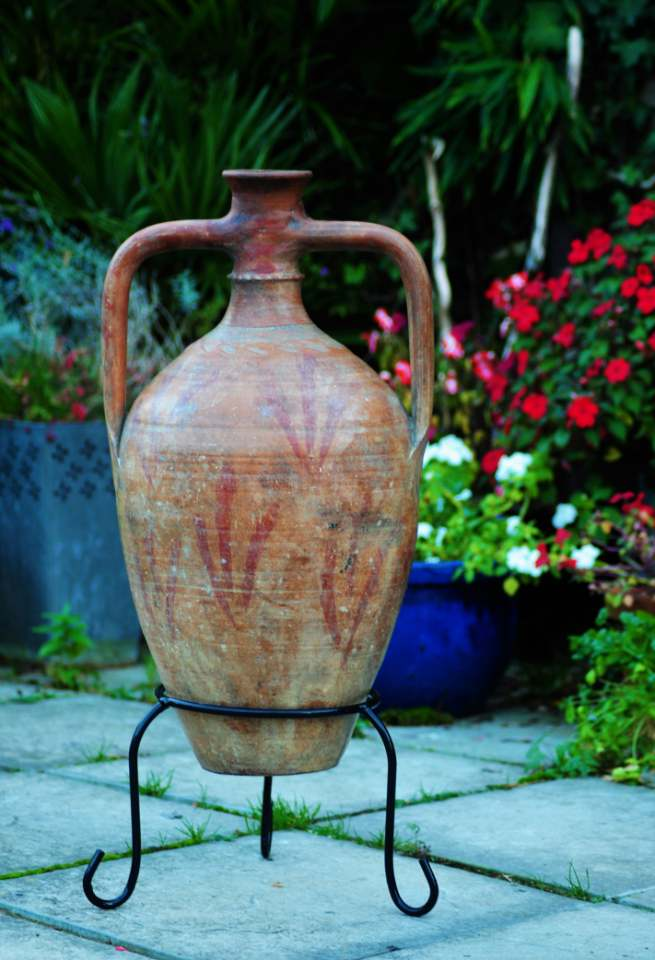 SORRY, NOW SOLD – Antique Amphora Wine Jar – Hand Painted from Southern Turkey – £180