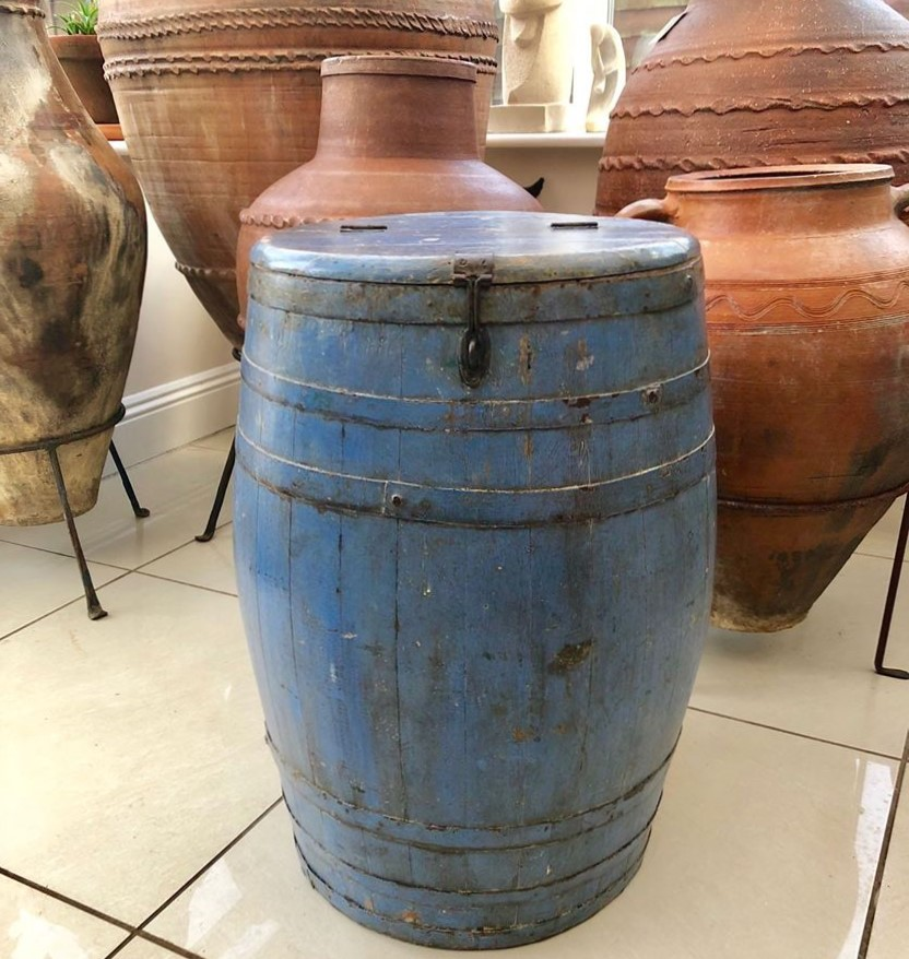 Original 19th Century Ship's Oak Barrel – Beautiful Patina with Very Old Blue Painted Finish – £130