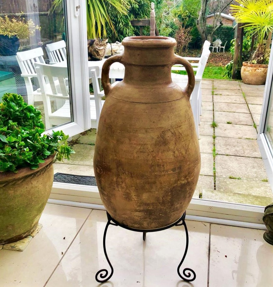 NOW SOLD – Antique Water Urn/Jar from Inland Turkey – Lovely & Unusual Shape – Including Metal Stand – £150