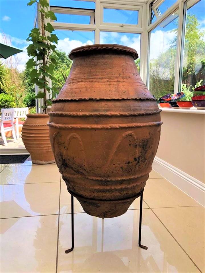 Antique Grain Storage Pot from the Aegean Sea Region of Turkey – Rare Ornate Decoration – £450 (inc stand)