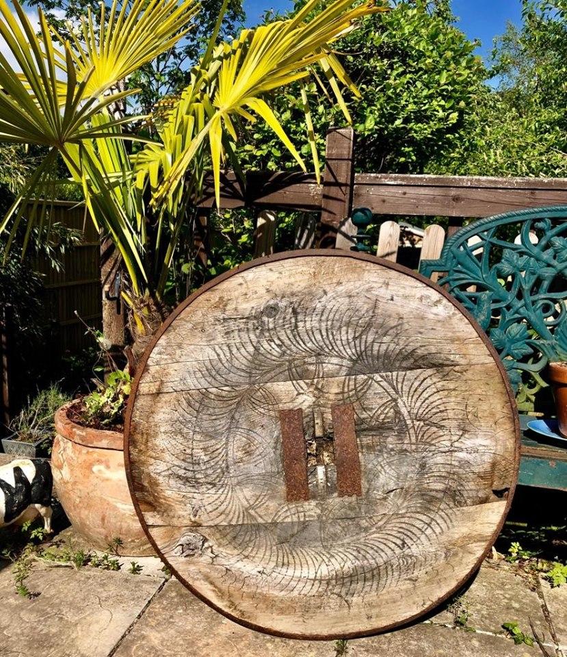 Antique Turkish Cart Wheel – Solid Oak – Beautiful Patina – Large 86cm – Very Rare – £190