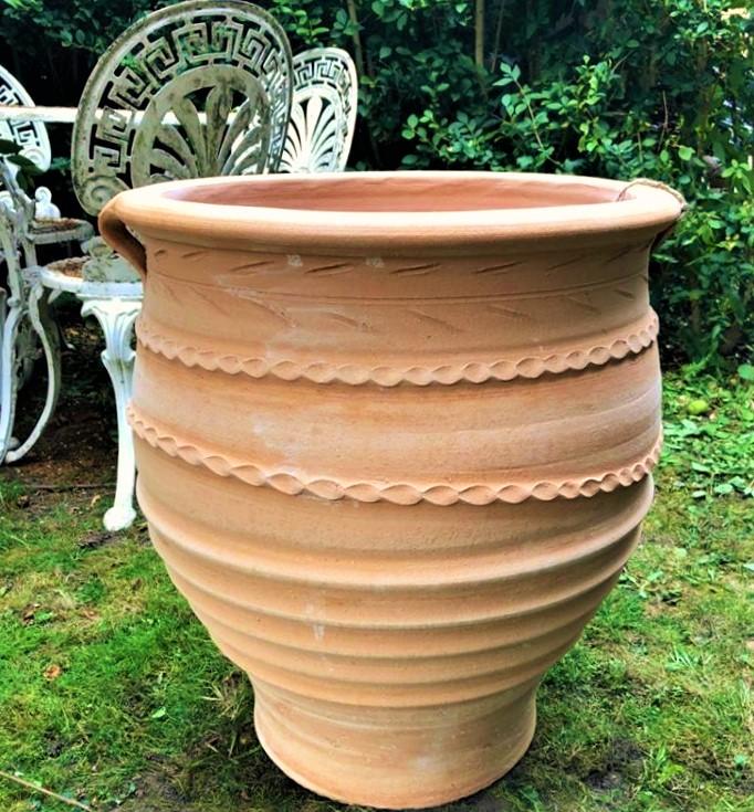 FOTIS Cretan Terracotta Pot Planter from Northern Crete – Handmade – Large 50cm X 40cm – £95.00