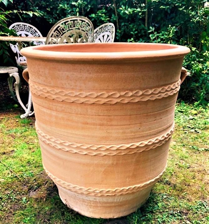 GLASTRA Cretan Terracotta Pot Planter from Northern Crete – Medium 40cm X 40cm – Handmade – £65.00