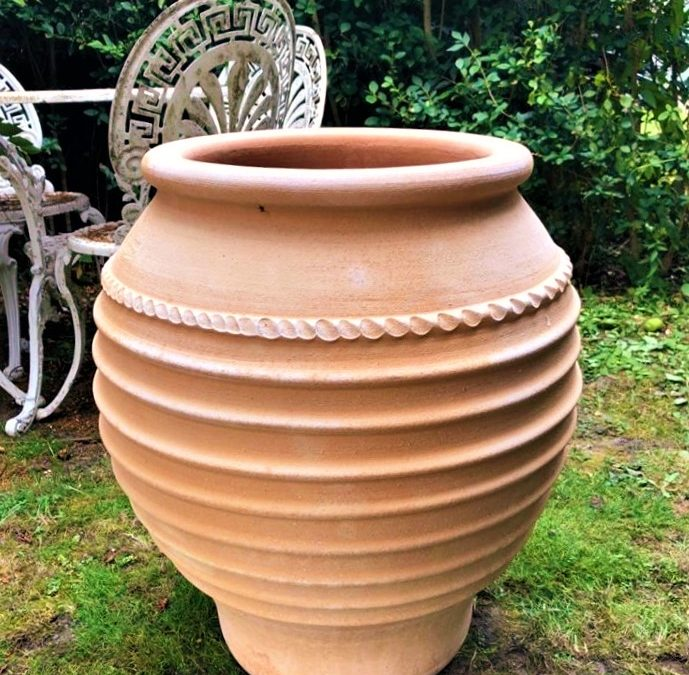 TZARA Cretan Terracotta Pot Planter from Northern Crete – Large 57cm X 47cm – Handmade – £195.00