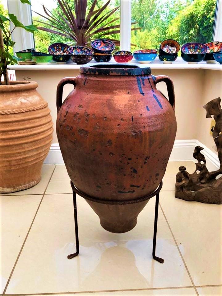 Antique Water/Wine Storage Pot from the Inland Region of Turkey – Rare Glazed Interior – £195 (inc stand)