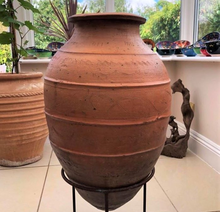 Antique Wine/Water Storage Pot from Southern Turkey – With Ornate Decoration – £250