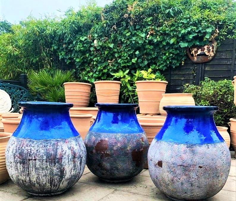 Cobalt Blue Half Glazed Extra Large Feature Pot – Stunning Shape & Patina – Solid Clay Terracotta – £495